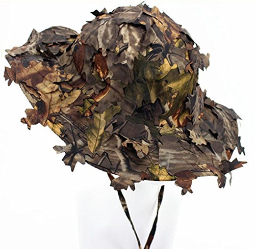 3D Leaves Camo Ghillie Hats Outdoor Sun Protection Fishing Hunting Cap Wide Brim Flap Hat