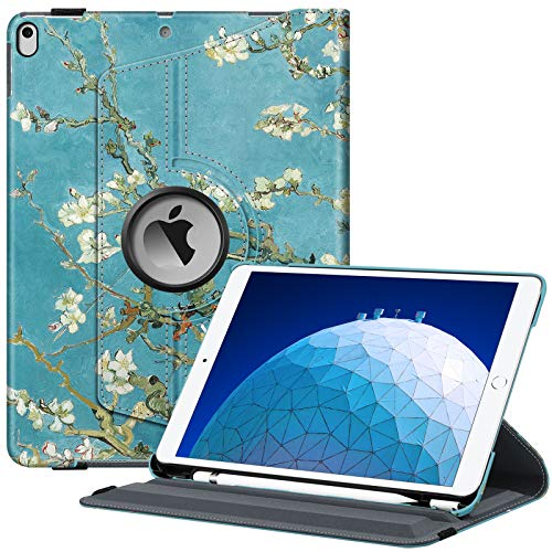 FINTIE Case for iPad Air (3rd Gen) 10.5' 2019 / iPad Pro 10.5' 2017-360 Degree Rotating Stand Protective Cover with Built-in Pencil Holder, Auto Sleep/Wake, Blossom