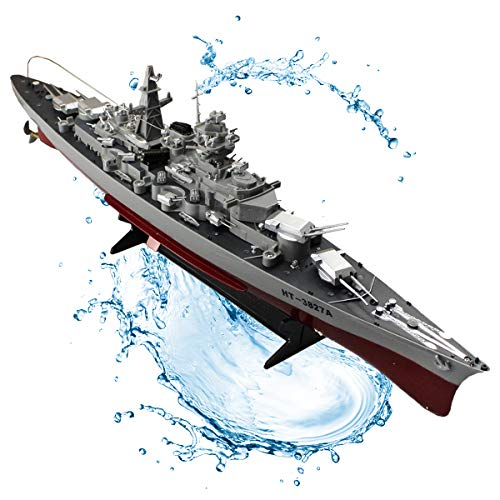JZH-Light 2.4Ghz RC Radio-Controlled Mini Warship Aircraft Carrier Battleship Ship Complete Set with Integratedbattery Remote Control Original Packaging Operating Distance 40 Meters Range
