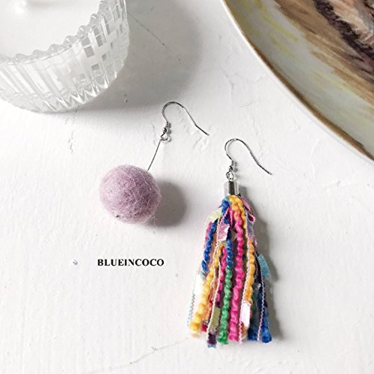 Personalized Fashion Hair Every Evening Ball s925 Silver Asymmetrical Handmade Felted Wool Tassel Earrings Women Girls