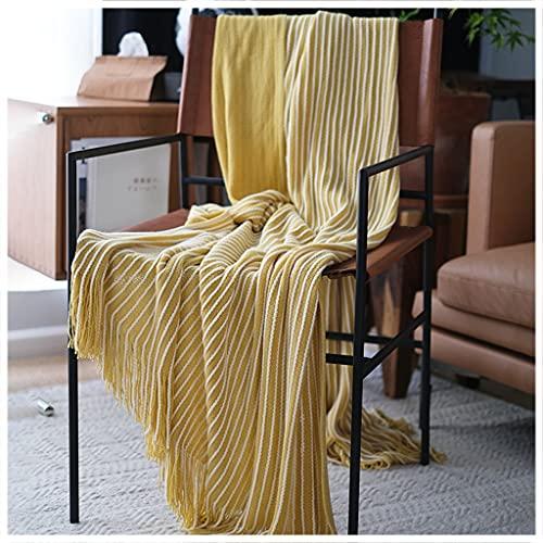 Throw Blankets Manta de Cama de Punto Retro Country Manta de sofá Suave y Agradable para la Piel Chal y Manta con decoración de borlas Adecuada para Viajes, sofá, Cama, Uso al Aire Libre