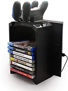 Multifunctional Game Disk Storage Tower Holder and Console Stand for PS4