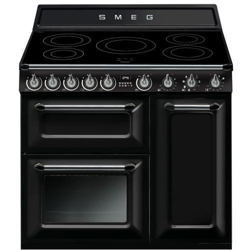 Smeg Victoria Aesthetic - Cocina (Cocina independiente, Negro, Giratorio, Frente, Con placa de inducción, Pequeño)
