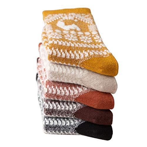 XIEBA Damen 3er Pack Wollsocke Atmungsaktive Warme Arbeitsstiefel Wanderkissen Crew Socken(Color:Mix 2)