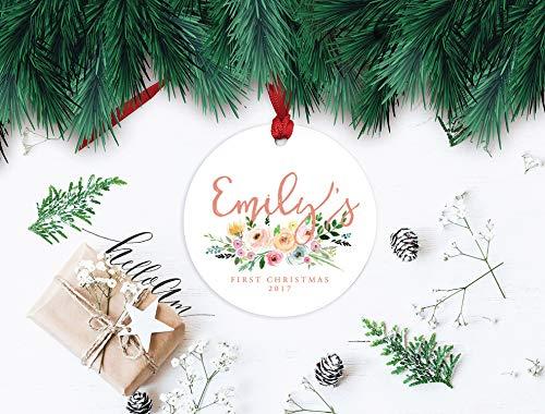 cwb2jcwb2jcwb2j 3'' Newborn Ornament, First Christmas, Baby Girl Ornament, Ornament Baby Girl, First Christmas 2018, Baby girl's First, Christmas Floral