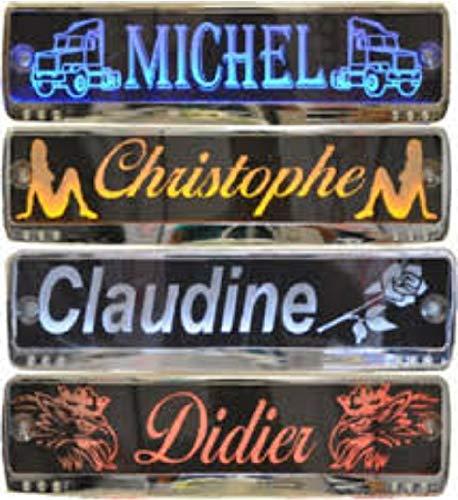 LED-Leuchtschild mit Namen, 52x11,5cm ✓ Ideale Geschenkidee ✓ 18 LEDs ✓ Lasergraviert   Edles Neonschild   Beleuchtetes LED-Schild für den 12/24Volt-Anschluss   Ideales LKW-Zubehör für Trucker