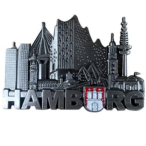 3forCologne Kühlschrankmagnet aus Metall, Hamburg Magnet stark, Skyline Wappen 1, als Deko für Kühlschrank Magnettafel Magnetwand, in Silber
