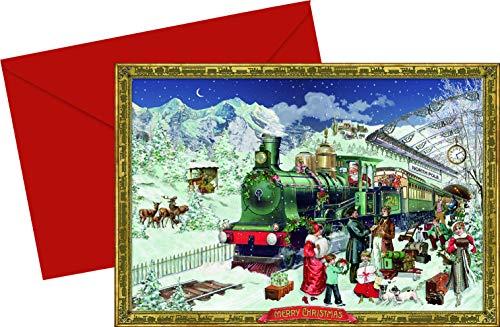 Trein rond de stad Advent Kaarten Coppenrath Kaarten 16,5 x 11,5 cm Glitter met Envelop