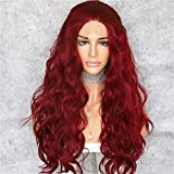 QD-Udreamy Lace Front Wigs Wine Red Color Long Natural Wavy Glueless Synthetic Lace Front Wig Natural Hairline Heat Resistant Fiber Wigs for Women