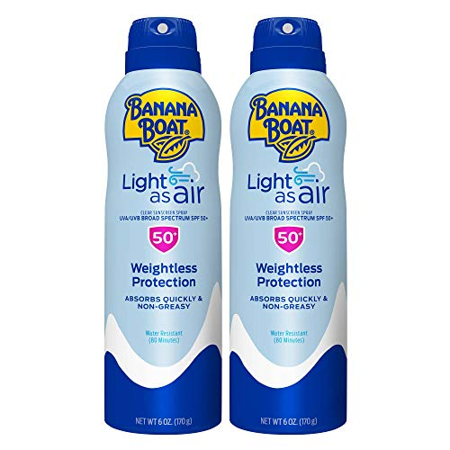 Banana Boat Light As Air, Reef Friendly, Broad Spectrum Sunscreen Spray 6oz. SPF 50 - Twin Pack