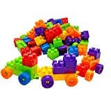 O-Toys 80 Pieces DIY Interlocking Building Blocks Toy Colorful Plastic Puzzle Construction Playset Creative Educational Stacking Blocks Toys Set for Kids