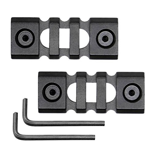 HooGou Aluminum Picatinny Weaver Rail Sections 3 Slot for Keymod Handguard Mount Rail System with Nuts Screws Allen Wrench Black (3 Slots (2 Pack))