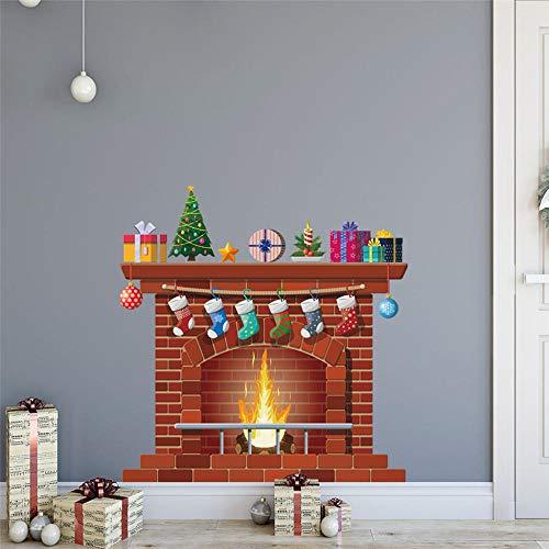 Lfnfl Kamin Weihnachtssocken Weihnachtsbaum Geschenke, festliche Wandaufkleber, dekorative Home Living Room 50X70Cm