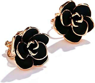 Clip on Earrings for Women Gilrs,Non Pierced Earrings (Black Rose Flower)