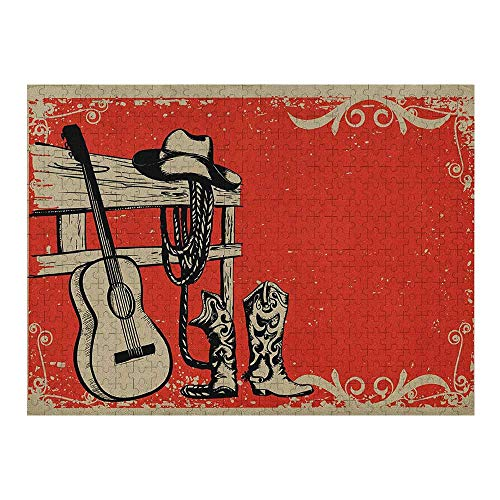 Western Wooden Puzzle 1000 Piece, Image of Wild West Elements with Country Music Guitar and Cowboy Boots Retro Art, Beige Orange