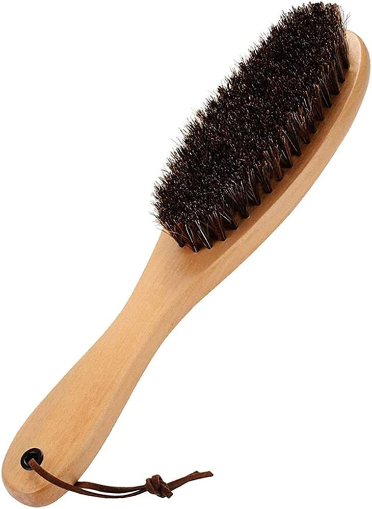 Aimili Cleaning Brush, Natural Horsehair Shoes Brush for Upholstery, Cleaner Car Interior, Upholstery Furniture, Shoes, Leather Clothes