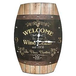 HDC International Clock Wine Barrel Look 20x15 inches Concave Wine Barrel Shape Wine Cellar Rustic Design