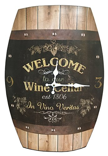 HDC International Clock Wine Barrel Look 20x15 inches Concave Wine Barrel Shape Wine Cellar Rustic Design