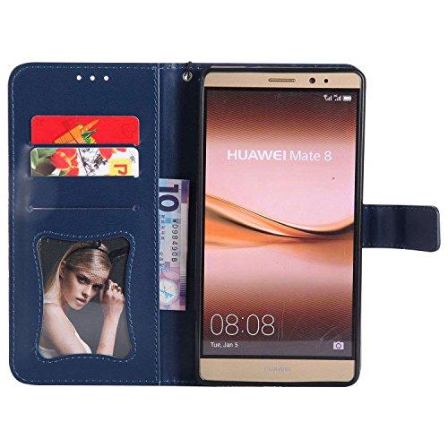 pinlu® PU Leder Tasche Handyhülle Für Huawei Ascend Mate 8 (6zoll) Smartphone Wallet Hülle Mit Standfunktion und Kartenfach Design Rattan Blume Prägung Dunkelblau - 3