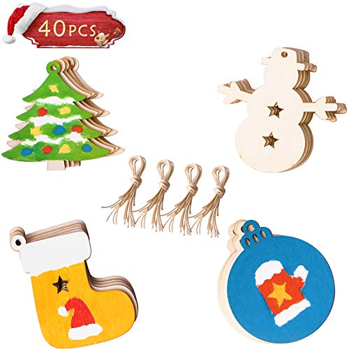 "40PCS Christmas DIY Ornaments, Unfinished Wood Ornament for Kids, Kids Christmas Crafts, Christmas Tree Craft Supplies 3.5"" 8 Style Wooden Discs with Holes"