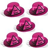 Party-Teufel® 5er Set Mini Hut Aufschrift Team Braut, PInk mit Dreieck sowie Brautschleier in...