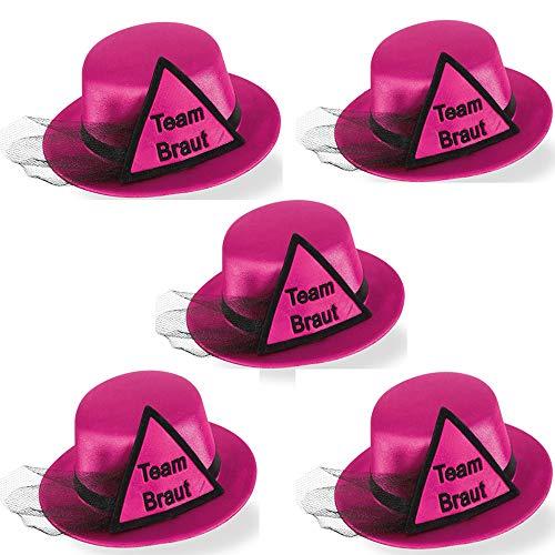 Party-Teufel® 5er Set Mini Hut Aufschrift Team Braut, PInk mit Dreieck sowie Brautschleier in Schwarz und Haarclips Junggesellenabschied
