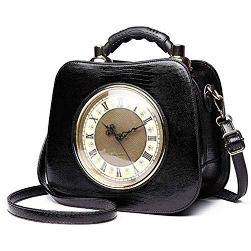 AMITD dames handtas leder diagonaal kruis tas echt werk horloge diagonaal pakket met afneembare schouderriem zwart