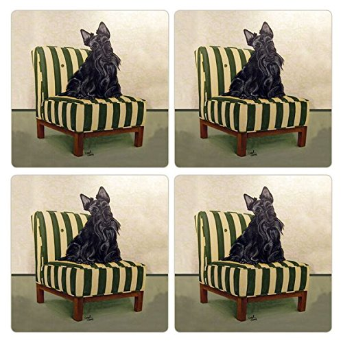 CoasterStone Absorbent Coasters (Set of 4), Scottie Dog, 4-1/