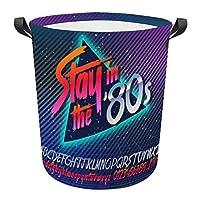 80年代のネオンスタイルのヴィンテージダンスナイト 収納かご 収納バスケット ランドリーバスケット 洗濯かご ランドリー衣類収納おもちゃ収納 オフィス収納 おしゃれなインテリア雑貨 折り畳み式