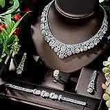 LIYDENG Joyas Conjuntos De Joyas CZ De Lujo Grande para Mujeres Pendiente Collar Conjunto Accesorios De Vestido De Novia Regalos De Fiesta Ensemble Bijoux (Color : Platinum Plated)