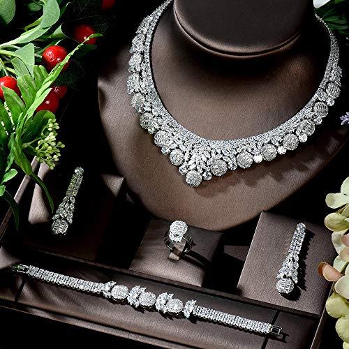 Großer Luxus CZ Schmuck Sets Für Frauen Ohrring Halskette Set Brautkleid Zubehör Party Geschenke Ensemble Bijoux Zzib (Color : Platinum Plated)