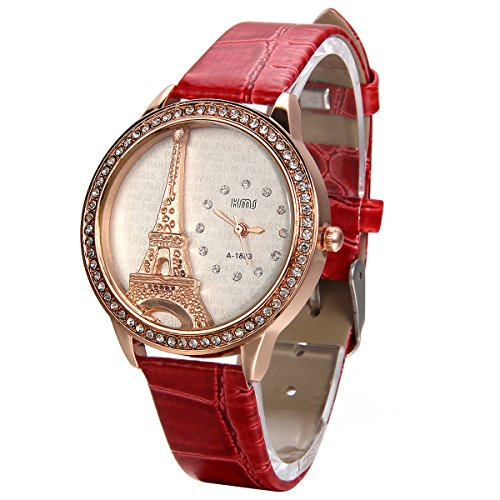 JewelryWe Montre Femme Quartz Charm Graduation Faux Diamant Tour Eiffel Mode Bracelet Cuir Alliage Fantaisie Couleur Rouge avec Sac Cadeau