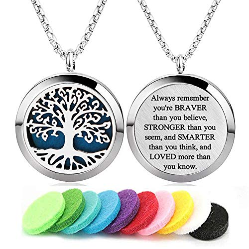 Aromatherapy Essential Oil Diffuser Necklace Tree of Life Pattern Stainless Steel Locket Pendant with 24Inch Adjustable Chain