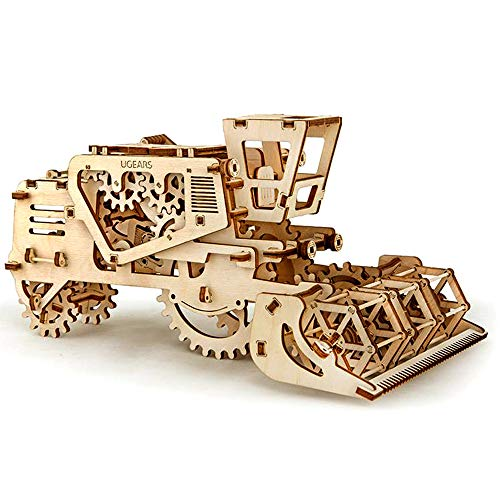 UGEARS- Mechanical 3D Combine Puzzle Harvester, Modelo cosechadora, Color Unfinished Wood (70010)