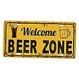 Sharplace Vintage Placa de Pared Puerta de Chapa de Metal Impermeable Accesorios Decorativos de Bar Cafetería Taberna Hogar - Zona de Cerveza