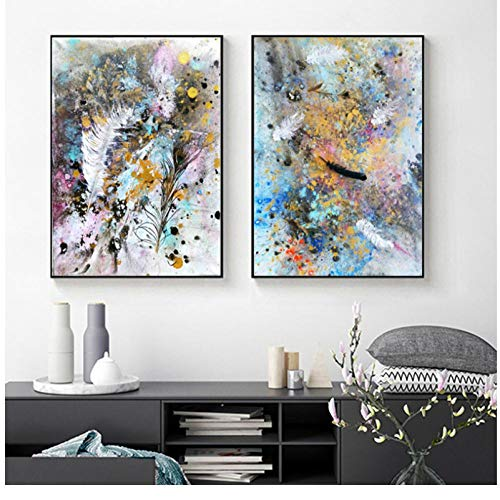 Rjunjie Art Canvas Abstract Feather Nodic Style Colorful Art Canvas painting Pictures Wall Art for Living Room Home Decor(40x60cmx2 no frame)