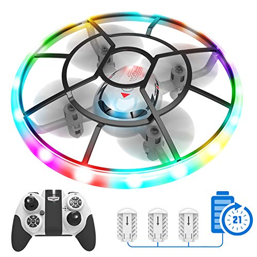 Q7 Mini Drone for Kids Beginners,RC Helicopter Quadcopter with Altitude Hold Headless Mode Remote Control Plane with Neno Light,Propeller Full Protect and 3 Batteries,Kids Gifts Toys for Boys Girls