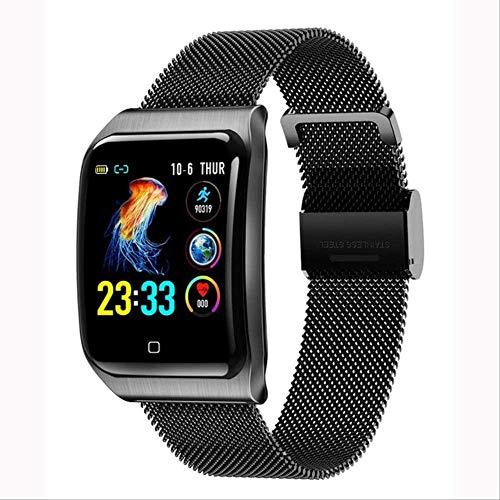 YUJY Smartwatch Mehrere Sport Smartwatch Herren Ios Ip68 wasserdichte Herzfrequenz Smartwatch Blutdruckmessgerät Bluetooth Health Armband Schwarz