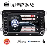 EINCAR Bluetooth Car Stereo GPS Navigation Audio Headunit for Volkswagen Double Din Car DVD Player Radio 7 inch HD Touch Screen Bluetooth Free Canbus for Steering Wheel Control 8GB Map Card