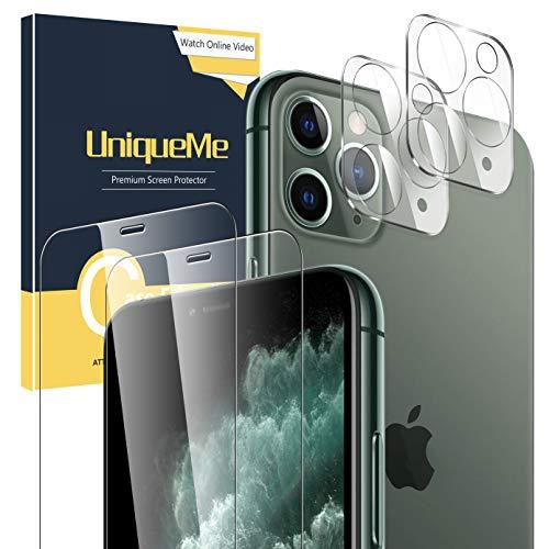 UniqueMe [2 Stück] Schutzfolie für iPhone 11 Pro 5.8 Inch + [2 Stück] Panzerglas Kamera Linse Schutzfolie, 9H Hartglas Kameraschutz Displayschutzfolie Anti-Öl Anti-Kratzer