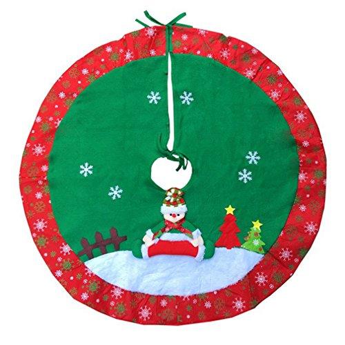 Bigood Décoration Sapin de Noël Nappe Couverture Accessoire Tablier Arbre Flocon de Neige