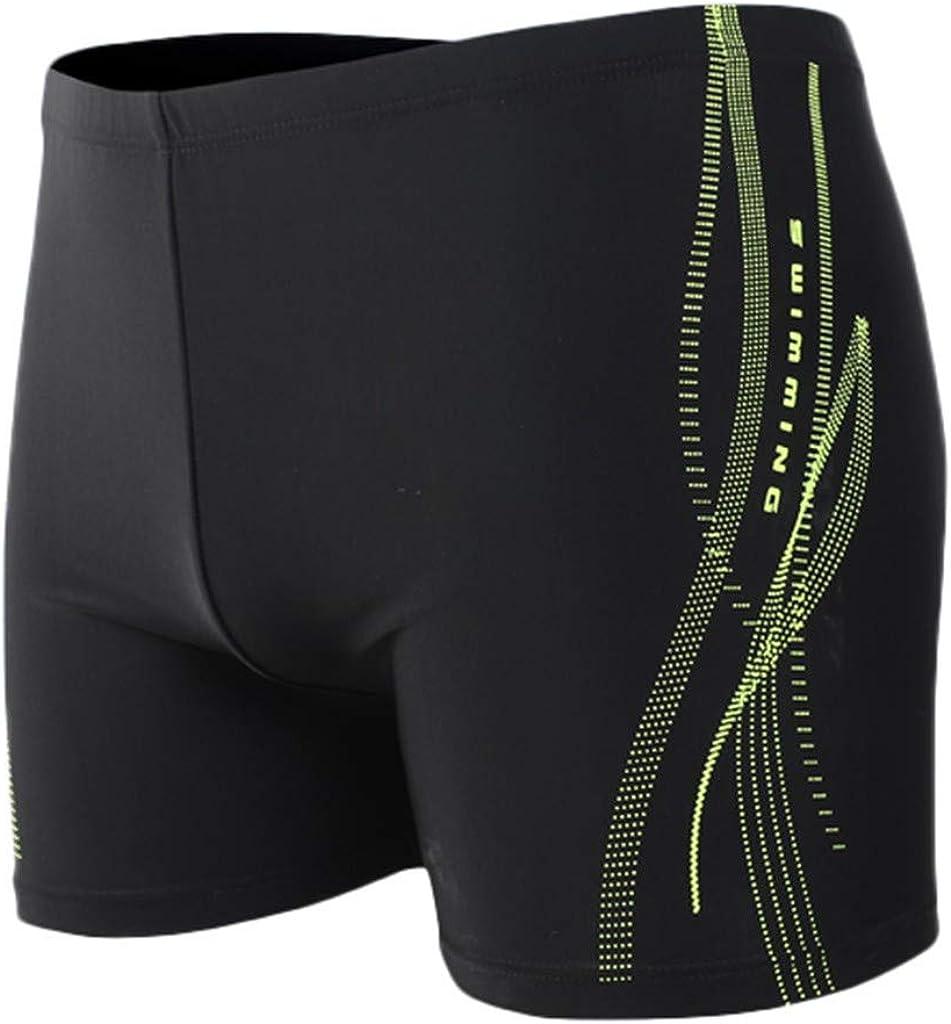 MODOQO Men's Swim Trunks,Nylon Solid Color Breathable Built-in Beam Line Briefs Shorts