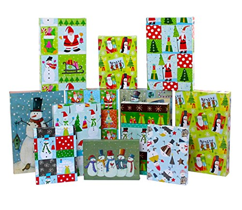 Iconikal 12-Pack Gift Boxes, 3 Sizes, Pre-Printed Christmas - Holiday