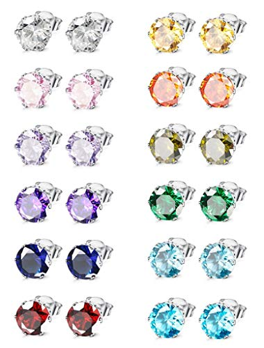 Milacolato Jewelry Stainless Steel Womens Colorful CZ Stud Earings Set Piercing 12 Pairs