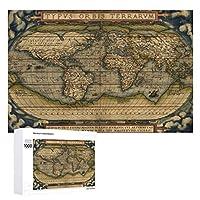 INOV 旧式な世界地図 ヴィンテージ 引くこと ジグソーパズル 木製パズル 1000ピース インテリア 集中力 75cm*50cm 楽しい ギフト プレゼント