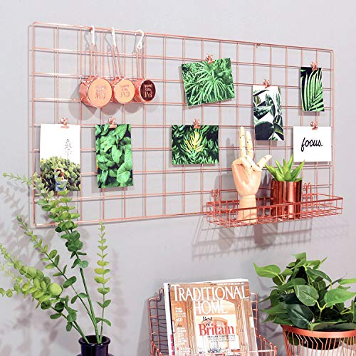 """Simmer Stone Rose Gold Wall Grid Panel for Photo Hanging Display & Wall Decoration Organizer, Multi-Functional Wall Storage Display Grid, 5 Clips & 4 Nails Offered, Set of 1, Size 17.7""""x37.4"""""""