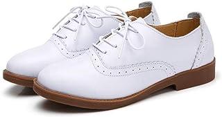 [WOOYOO] オックスフォードシューズ 女性用 デッキシューズ パンプス レースアップ 軽量 カジュアル おじ靴 歩きやすい ウィングチップ 防滑 お出かけ 通学 春 柔らかい 婦人靴 ブラック