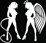 devil and angel girl sticker - Sexy Angel Devil Girl Naughty Nice Symbol Car Truck Window Bumper Vinyl Graphic Decal Sticker- (6 inch) / (15 cm) Wide GLOSS BLACK Color