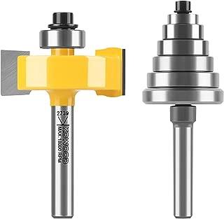 "KOWOOD 1/4"" Inch Shank 1-3/8"" Height Multi Rabbet Router Bit Set (6 bearings Multiple Depths 1/8"