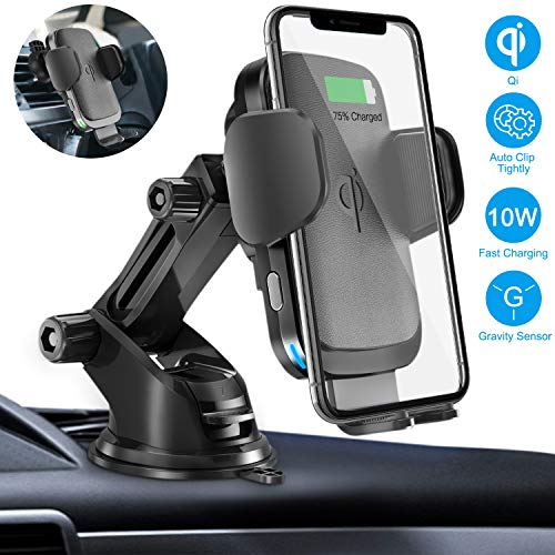 Wireless Car Charger Mount, Cshidworld Auto Clamping 10W/7.5W Qi Fast Charging Car Mount, Windshield Dashboard Air Vent Phone Holder Compatible with iPhone 11 Pro Xs Max XR 8 Plus, Samsung S10 S9 S8